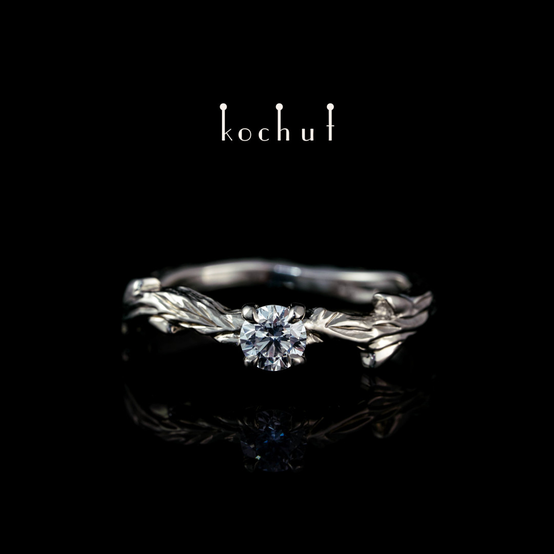 """Ring """"March Twig"""". White gold, diamond"""