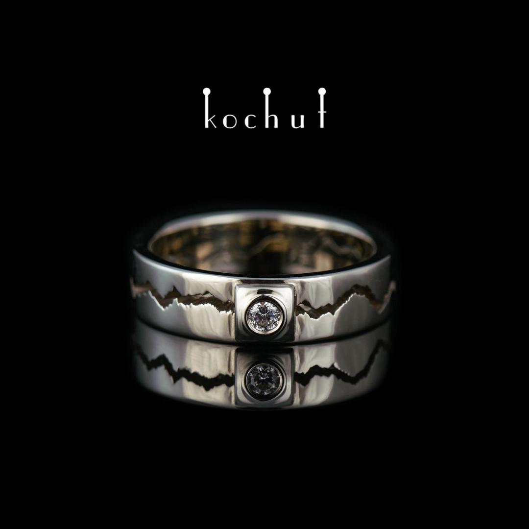 "Engagement ring ""1 + 1 = 11"". White gold, diamond"