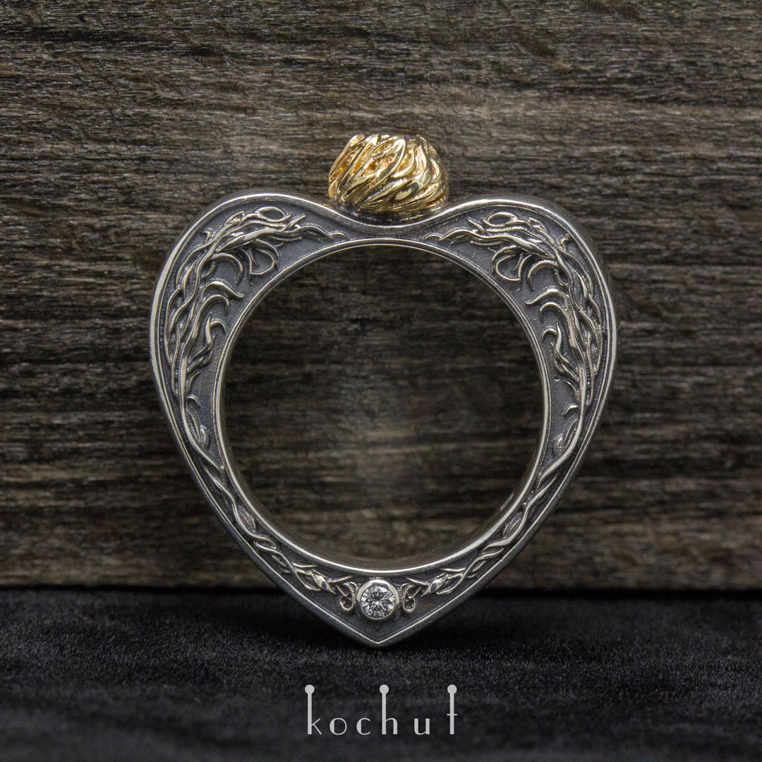 Ring «The Loving Heart». Silver, gold, tanzanite, diamonds
