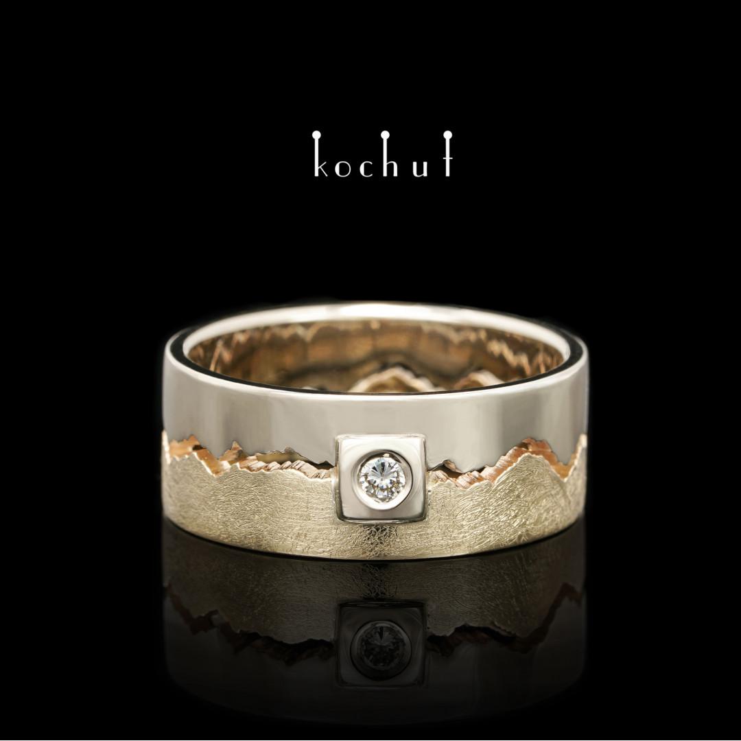 "Engagement ring ""1 + 1 = 1"". White, yellow gold, diamond"