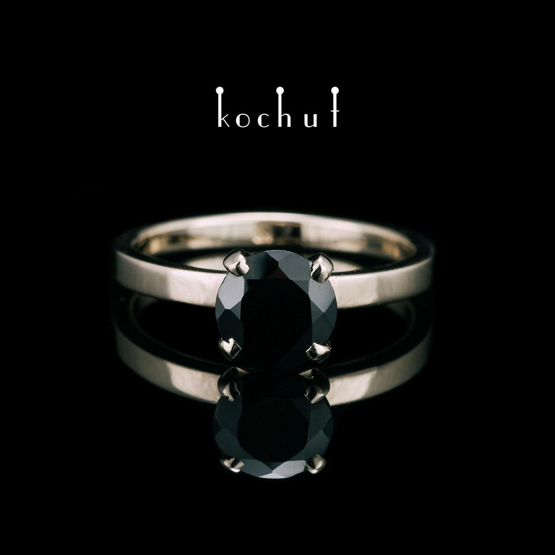 """Engagement ring """"Tenderness of feelings"""". White gold, black spinel"""