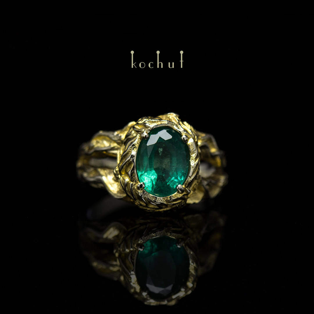 """Ring """"Sunny Forest"""". White gold, gilding, emerald"""
