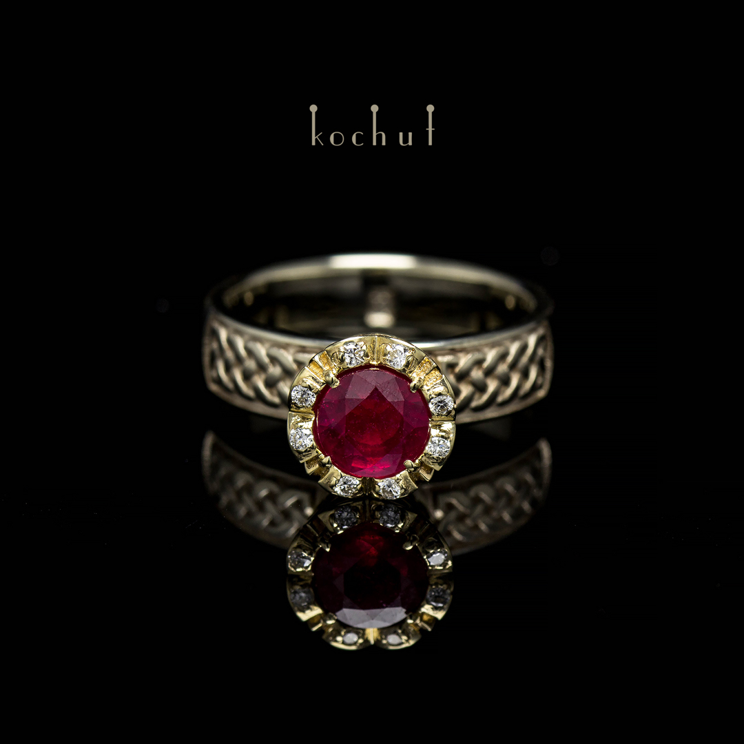 """Engagement ring """"Grand Imperium"""". Gold, ruby, diamonds"""
