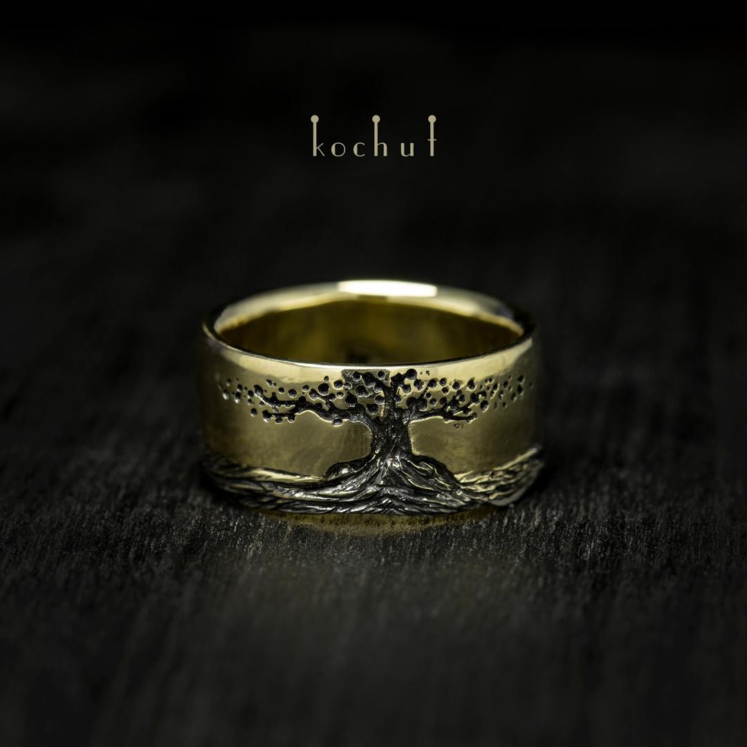 Ring «Tree ofLife, roots». Yellow gold, black rhodium
