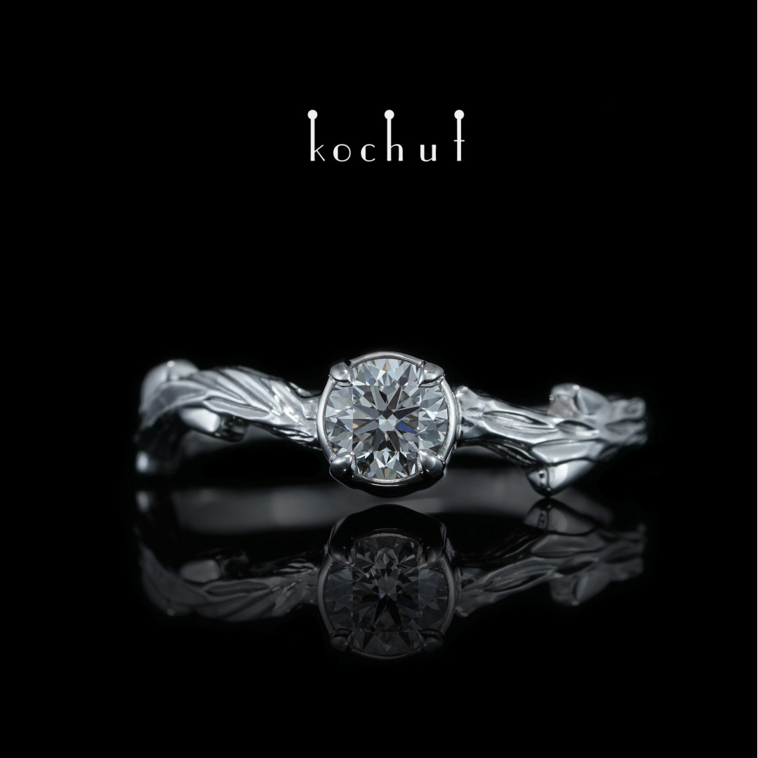 """Engagement ring """"The March twig"""". White gold, white rhodium, diamond"""
