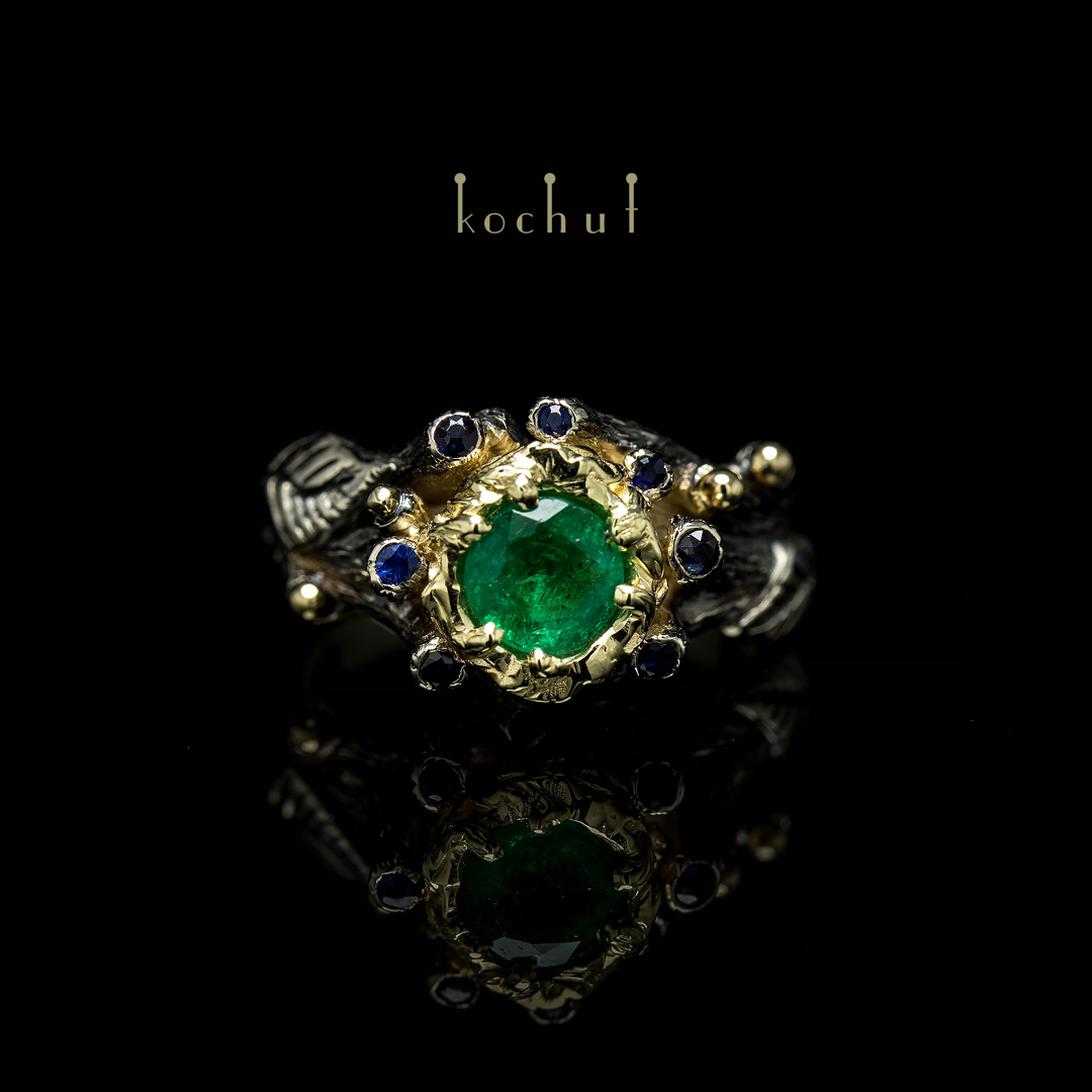 """Engagement ring """"The Triumph of Life"""". White, yellow gold, emerald, sapphires"""