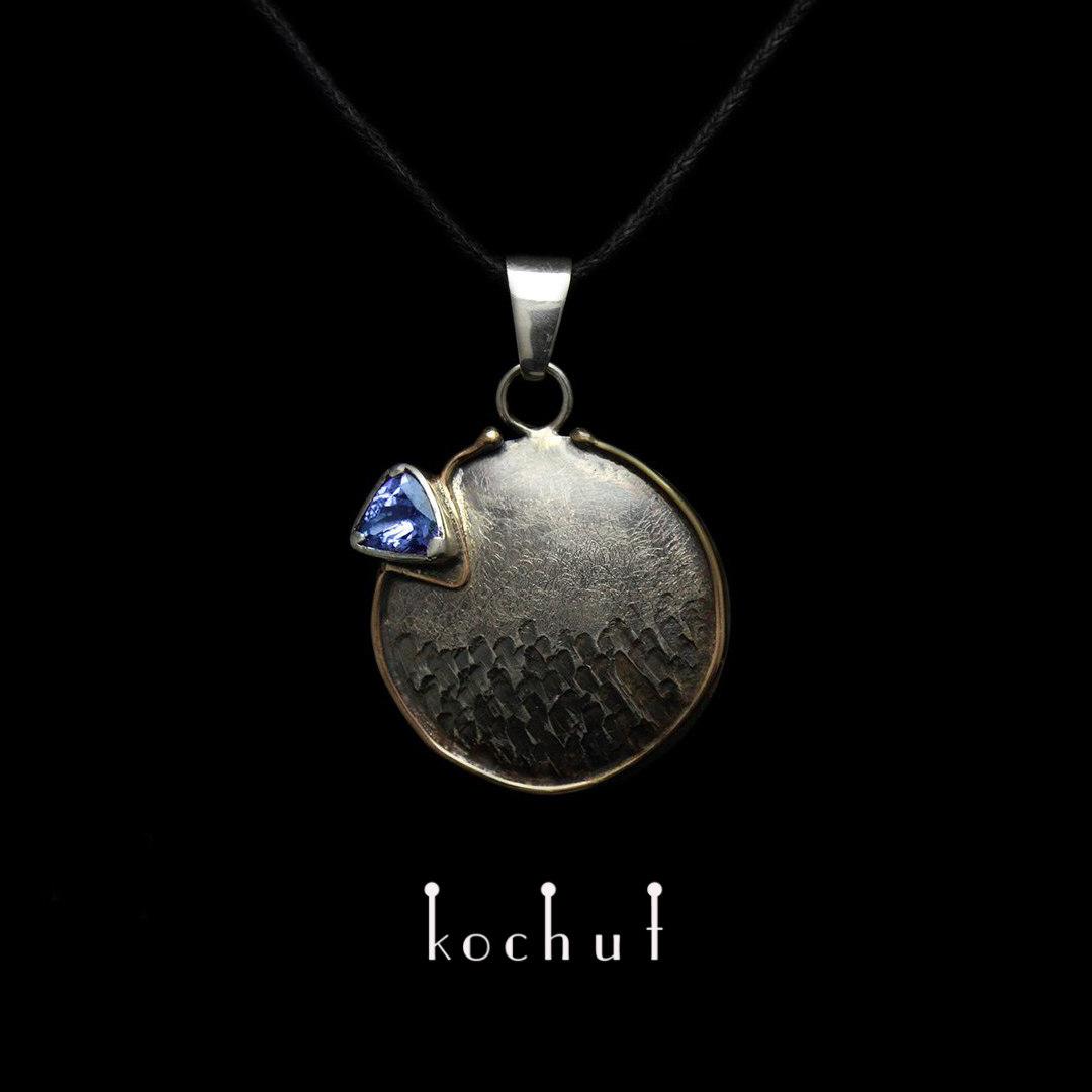 """The pendant """"Arctic sunrise"""". Silver, gold, tanzanite"""