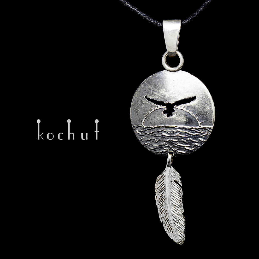 "Pendant ""Seagull and the Sea"". Silver, oxidation"