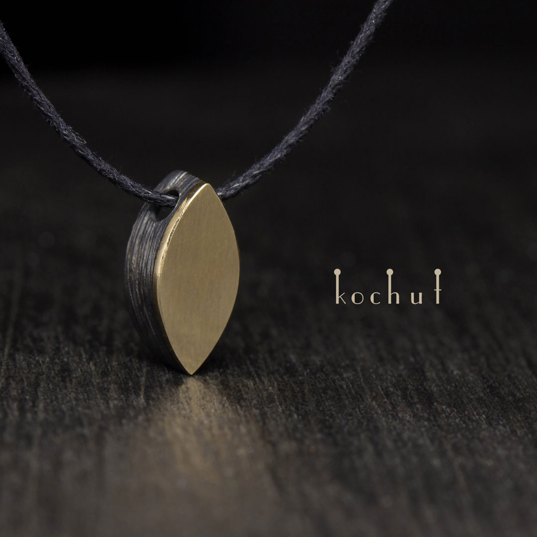 """The pendant """"Golden Leaf"""". Silver, yellow gold"""