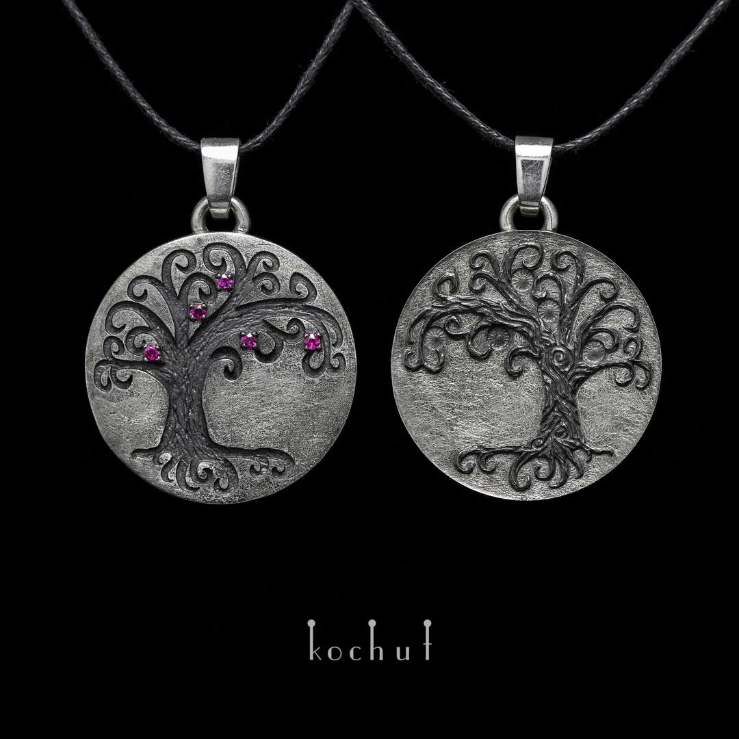 Double pendant «Tree of Life». Silver, rubies, oxidation