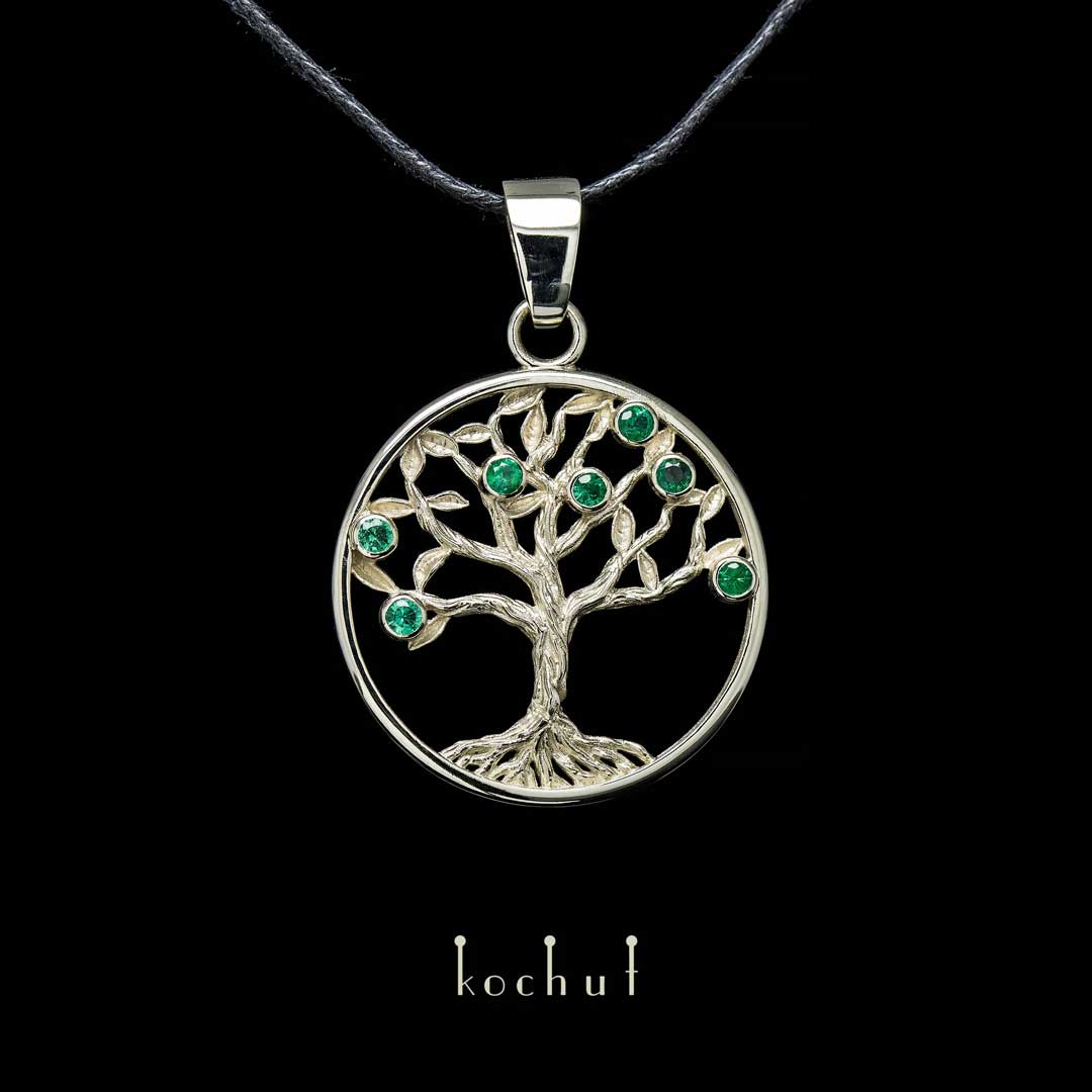 "The pendant ""The Emerald Tree"". White gold, emeralds"