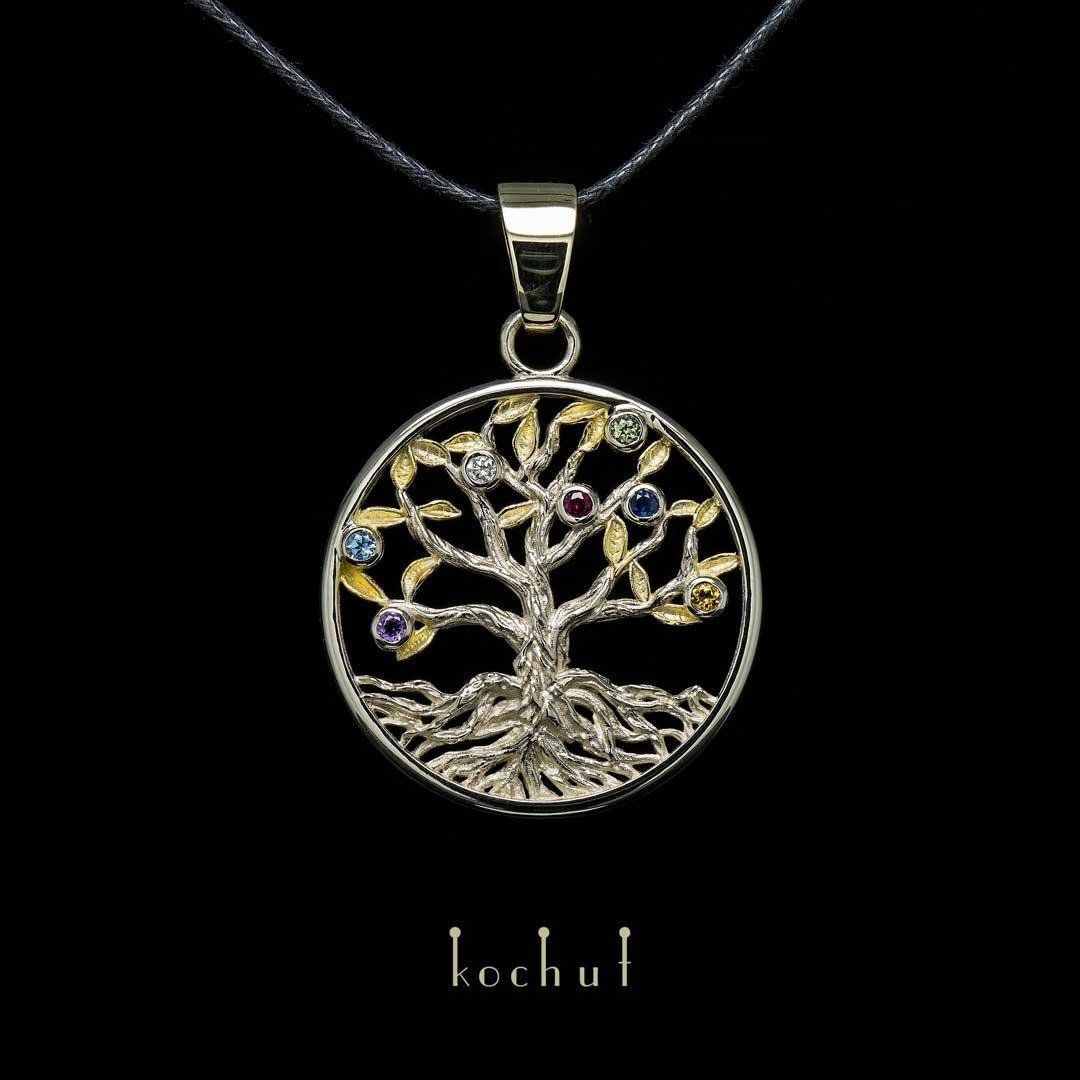 Pendant «The Tree of the Universe». White gold, gilding, precious stones