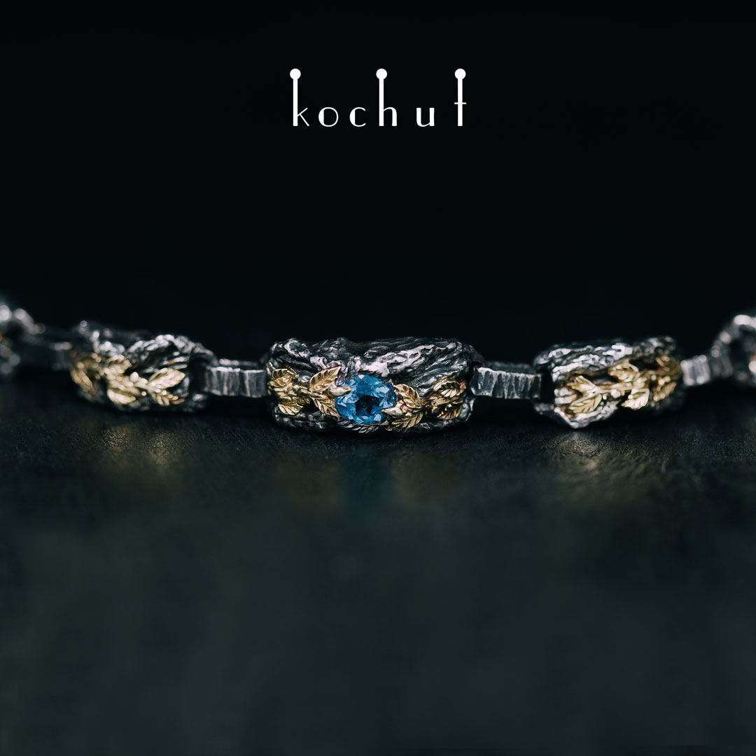 """Bracelet """"The Power of Life"""". Silver, gold, sapphire"""