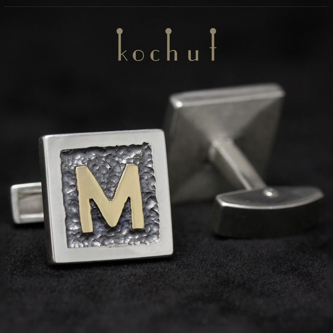 Cufflinks with initials. Silver, yellow gold