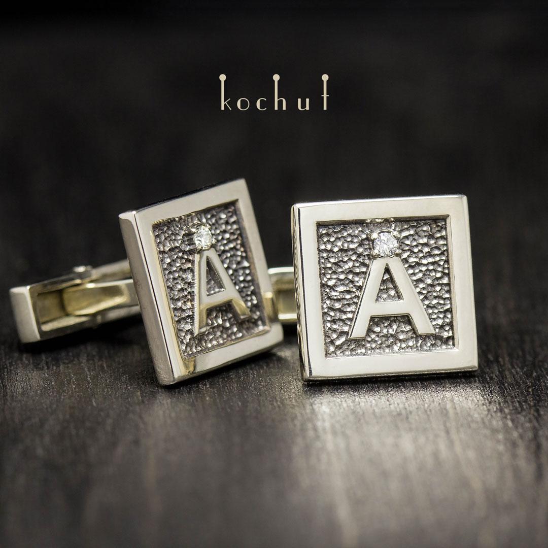 """Cufflinks """"Initials"""". White gold, diamonds"""