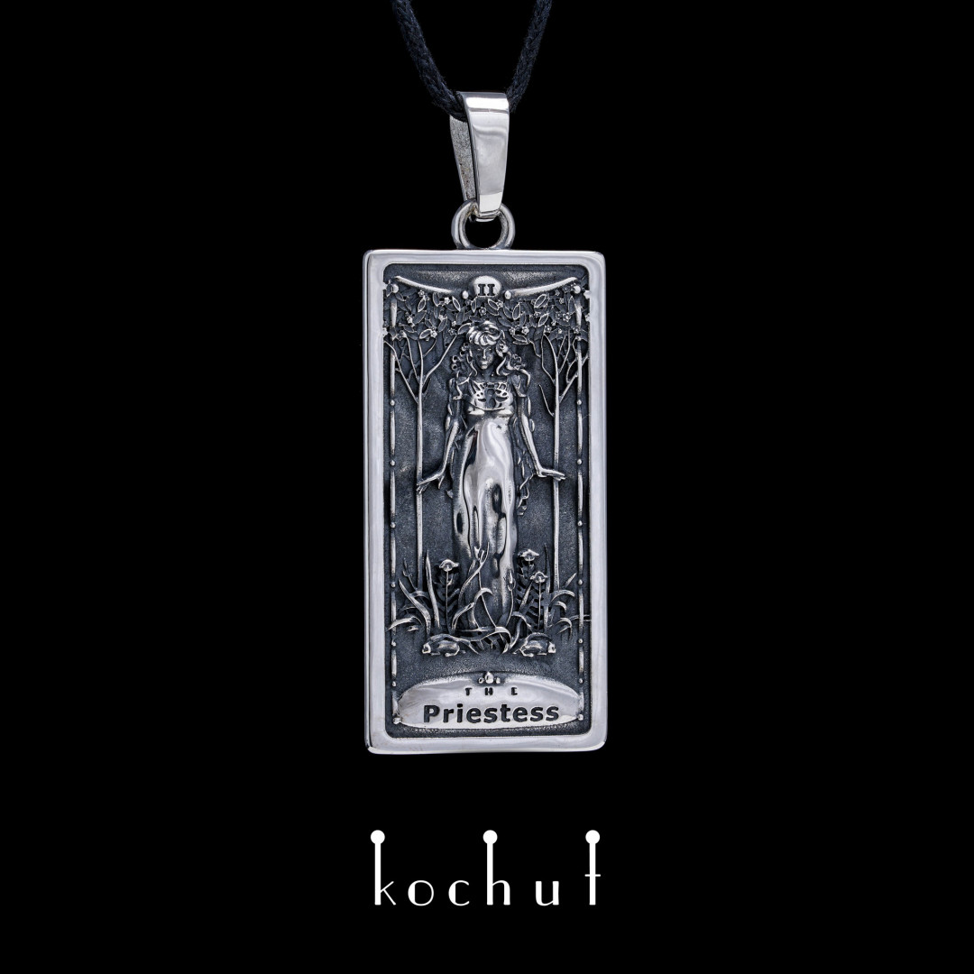 "Pendant ""Arkan the Priestess"". Silver, oxidation"