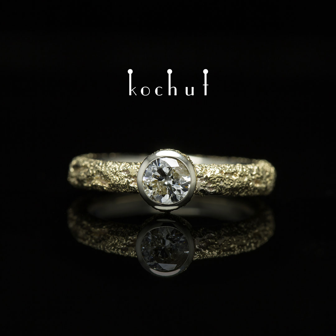 """Engagement ring """"Soul and body"""" (narrow). White, yellow gold, diamond"""