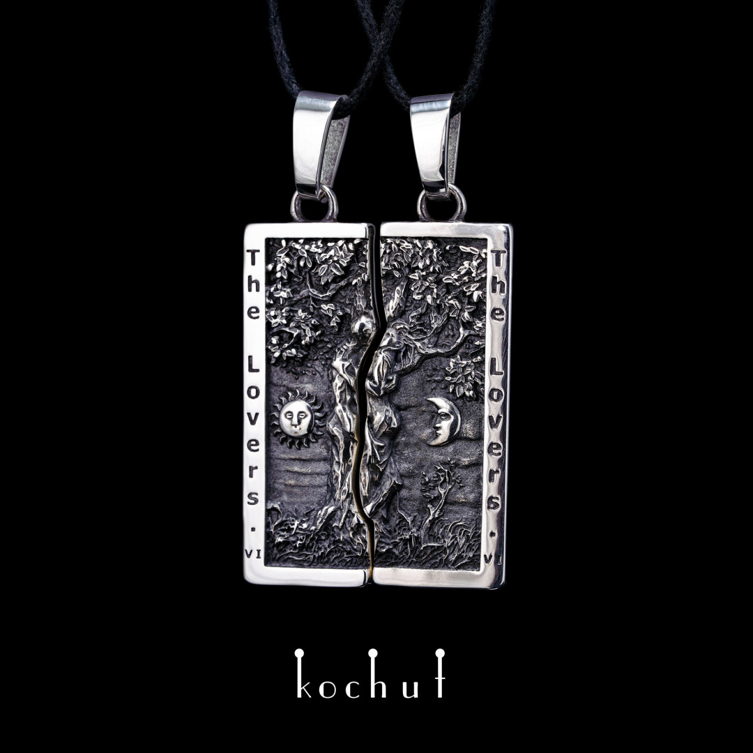"Double pendant ""Arkan Lovers"". Silver, oxidation"
