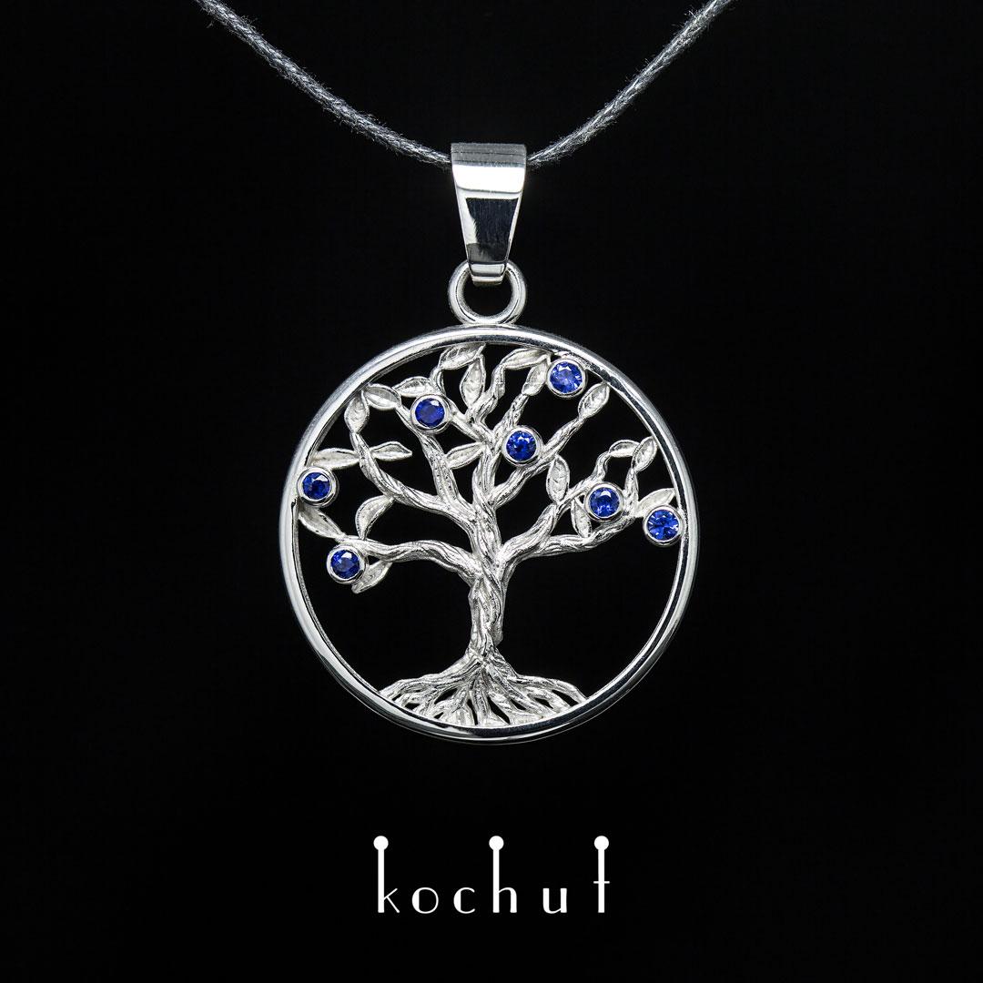 "Pendant ""Sapphire tree"". Silver, sapphires"