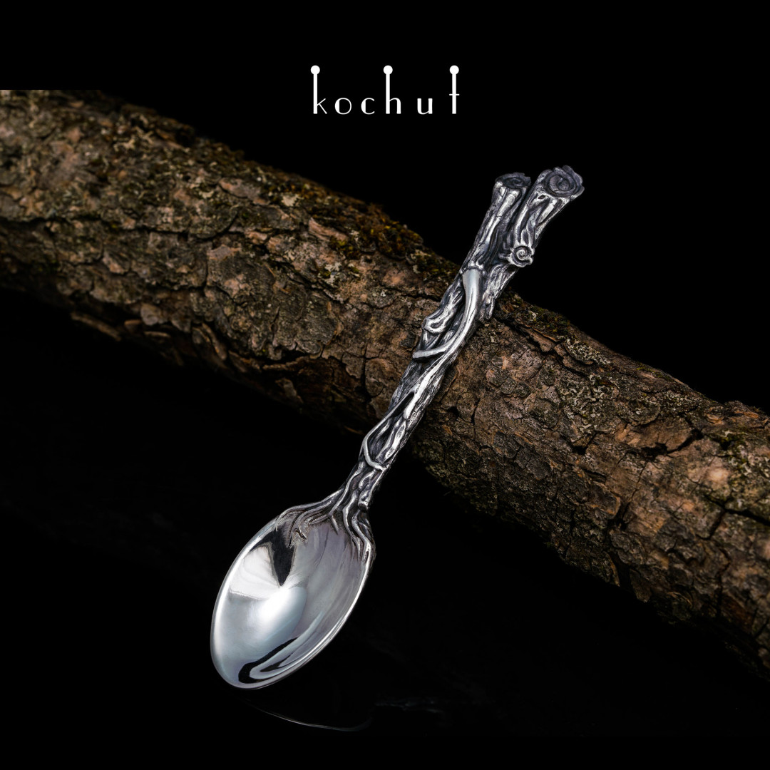 Forest Spoon. Tempered silver, oxidation