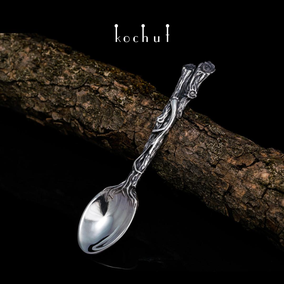 Forest Spoon. Britannia silver, oxidation