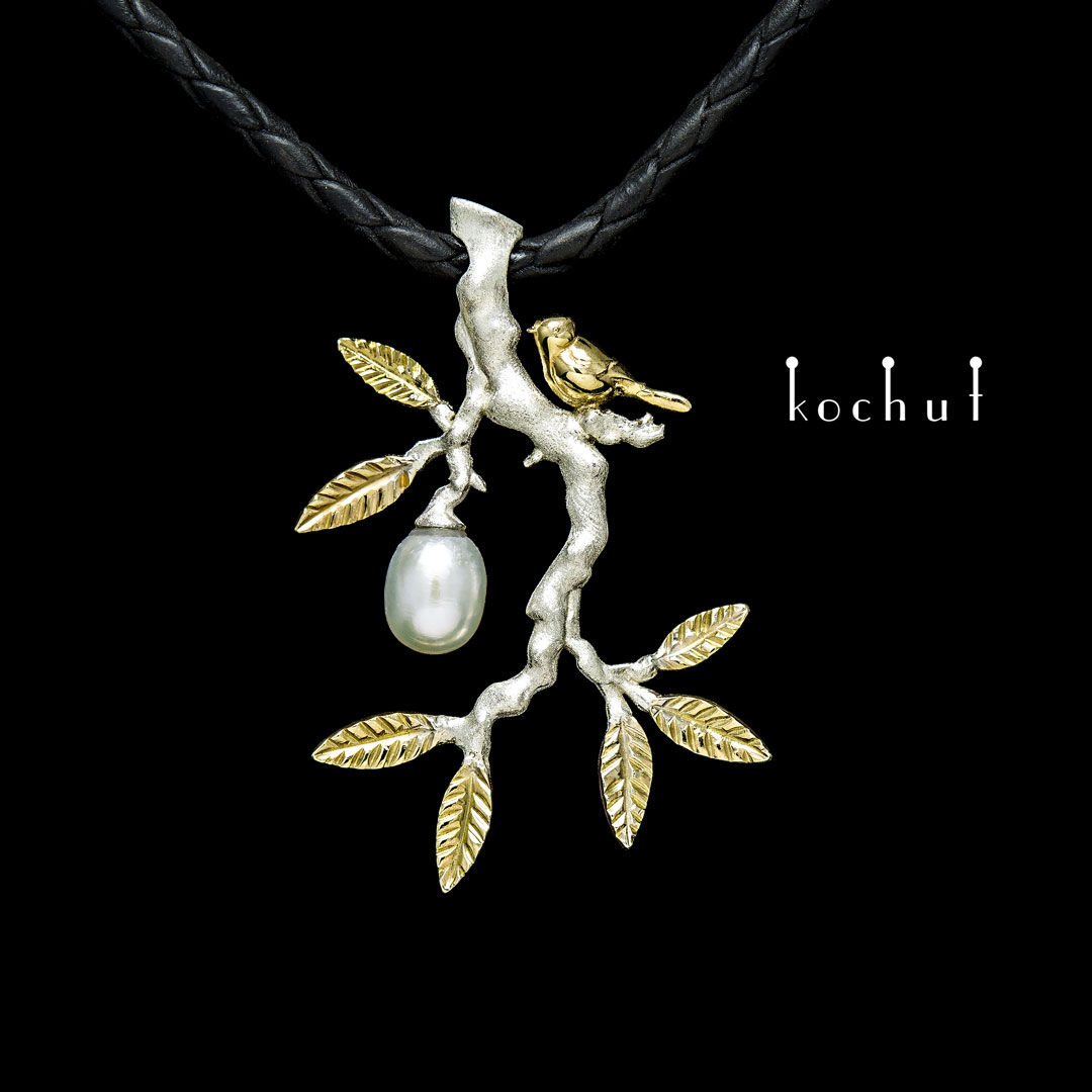 The pendant «Paradise twig». Silver, yellow gold, pearl