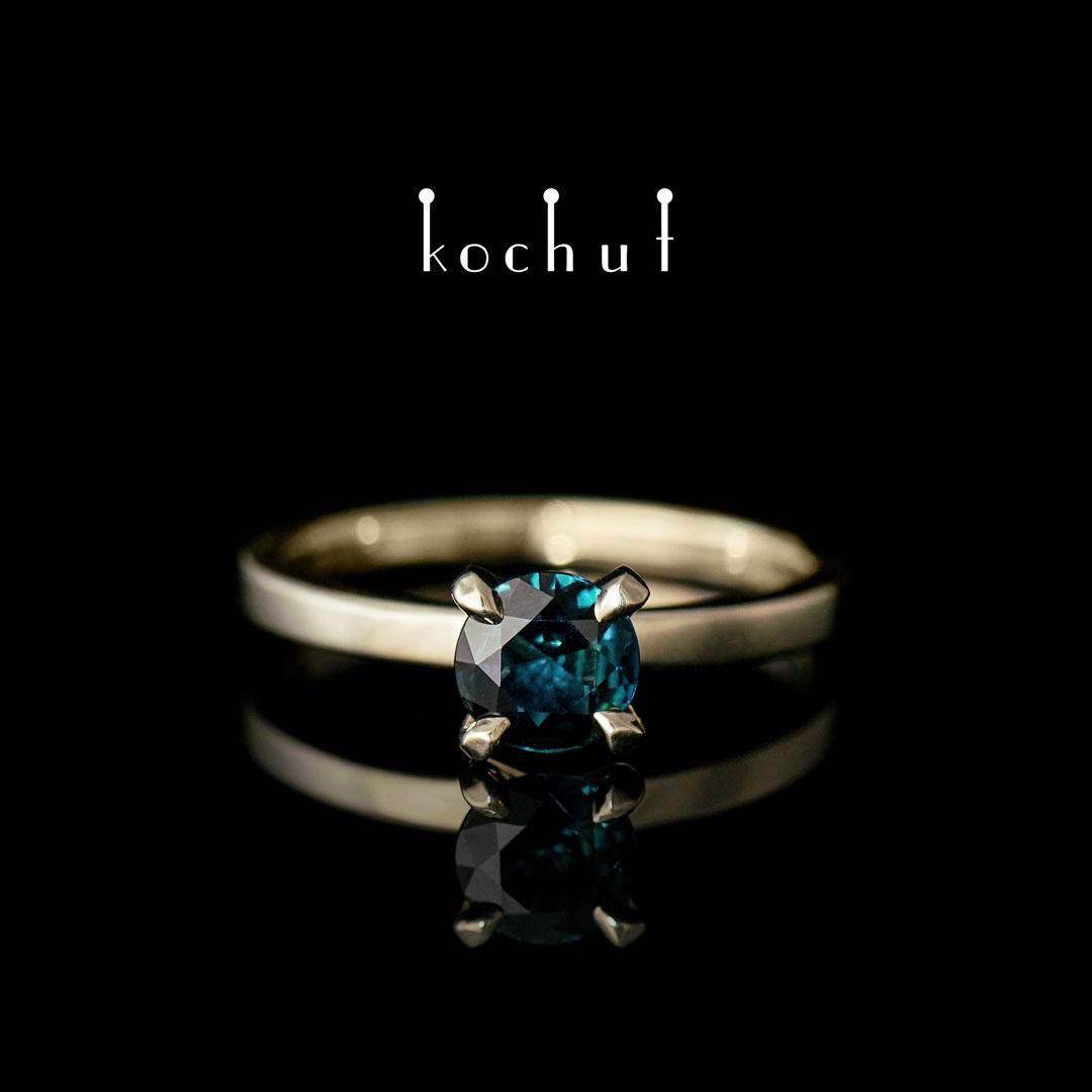 """Engagement ring """"Tenderness of feelings"""". White gold, sapphire"""