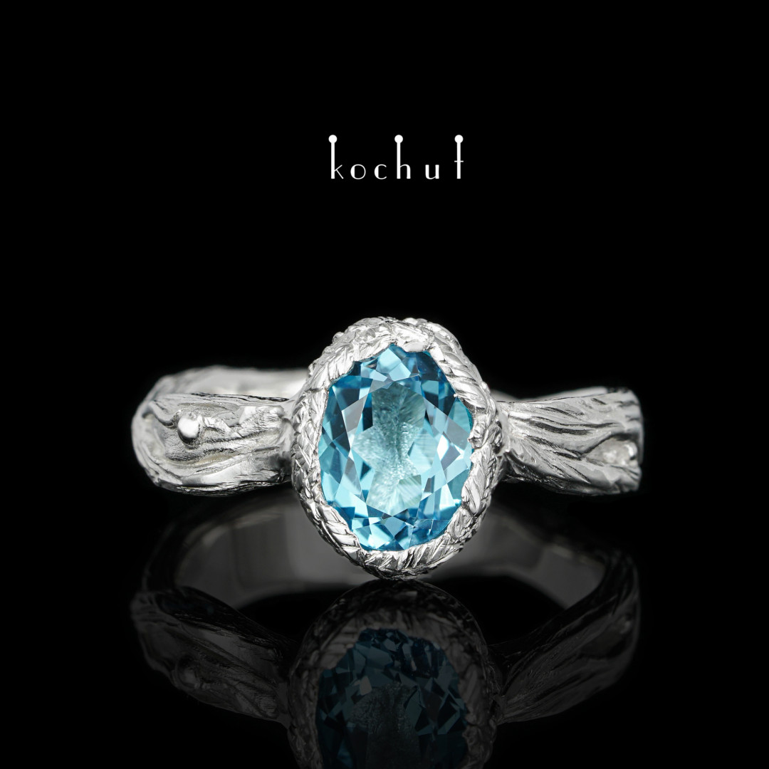Ring «The source of life.» Silver, white rhodium, topaz