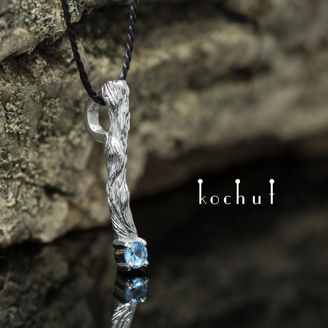 "The pendant ""Little twig"". Silver, white rhodium, topaz"