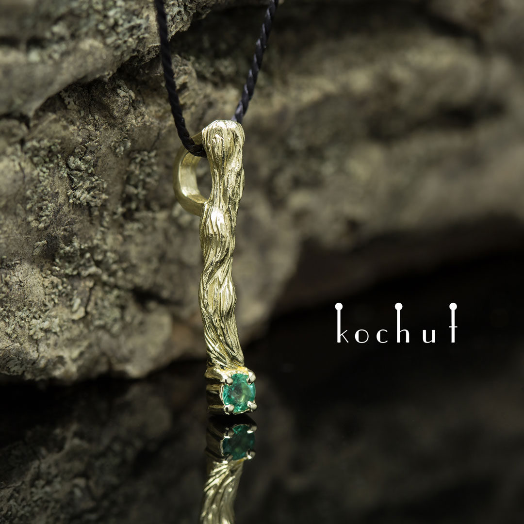 """The pendant """"Little twig"""". Yellow gold, emerald"""