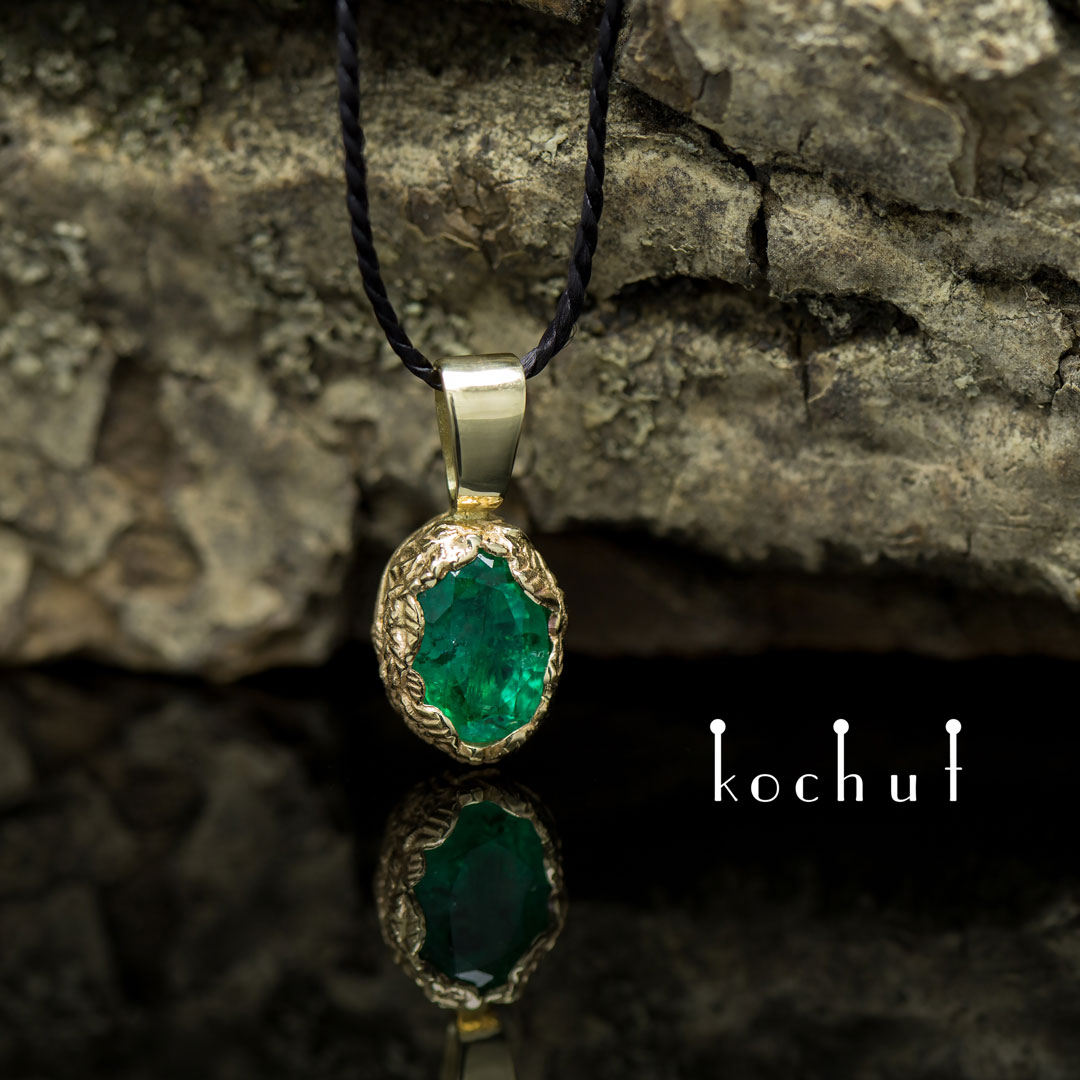 Pendant «The Source of Life». Yellow gold, emerald