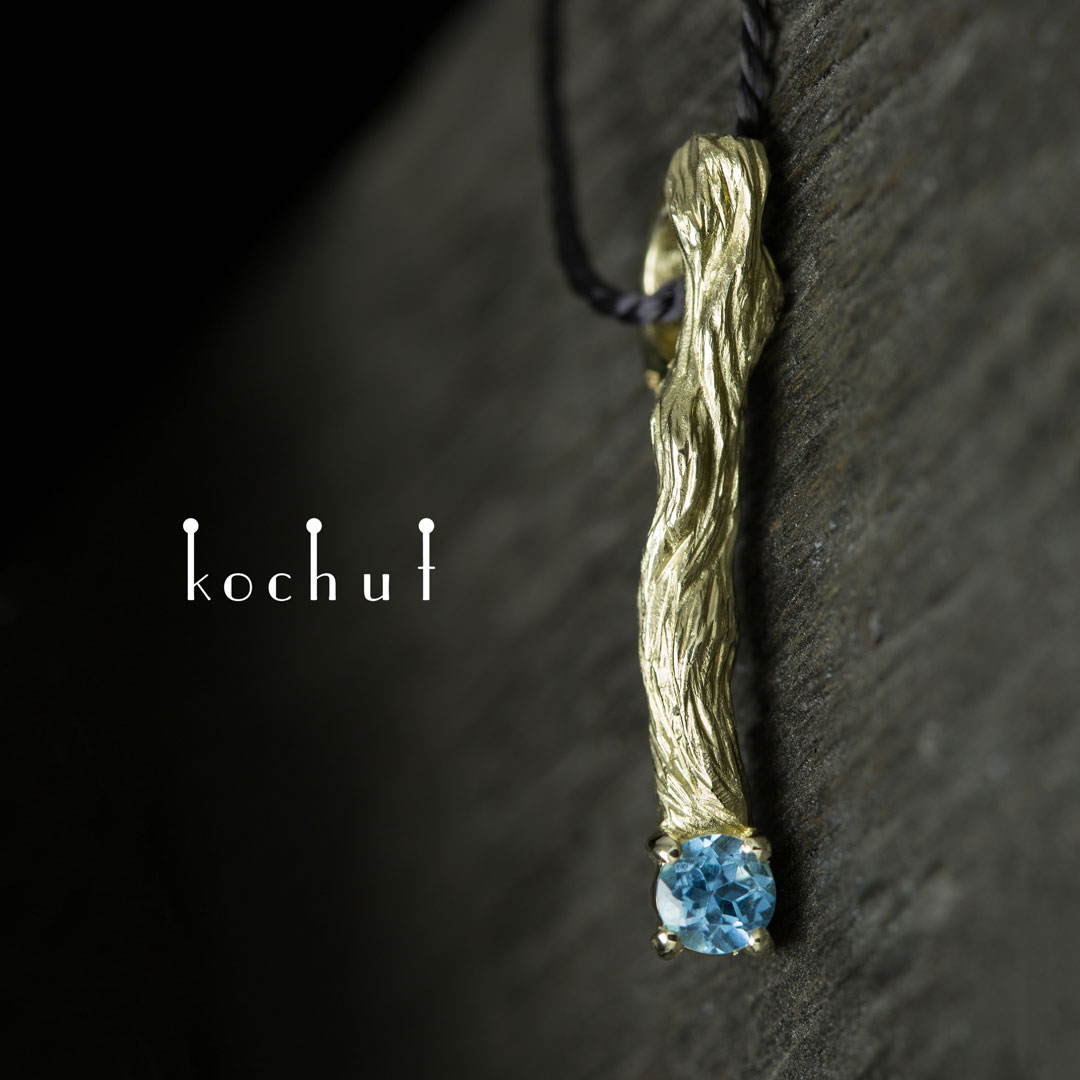 "Pendant ""Little Twig"". Yellow gold, blue topaz"