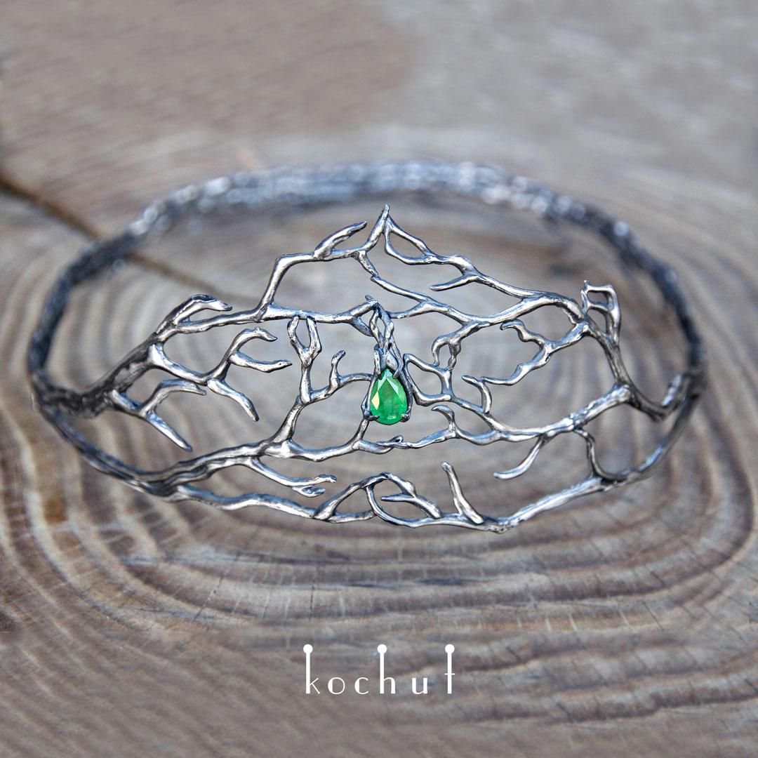 "The Tiara ""Elvish"". Silver, emerald"