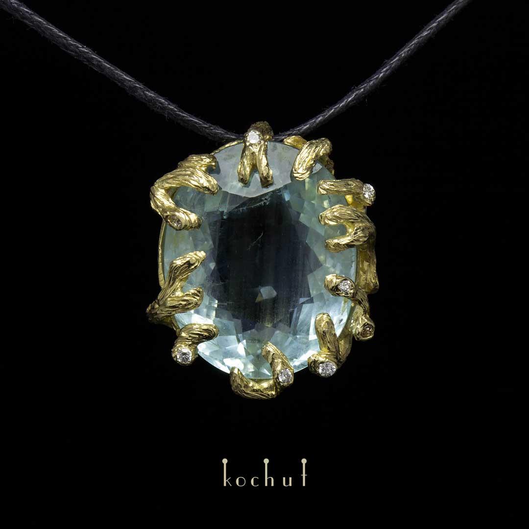 "The pendant ""Lord of the Seas "". 18K Yellow gold, aquamarine, diamonds"