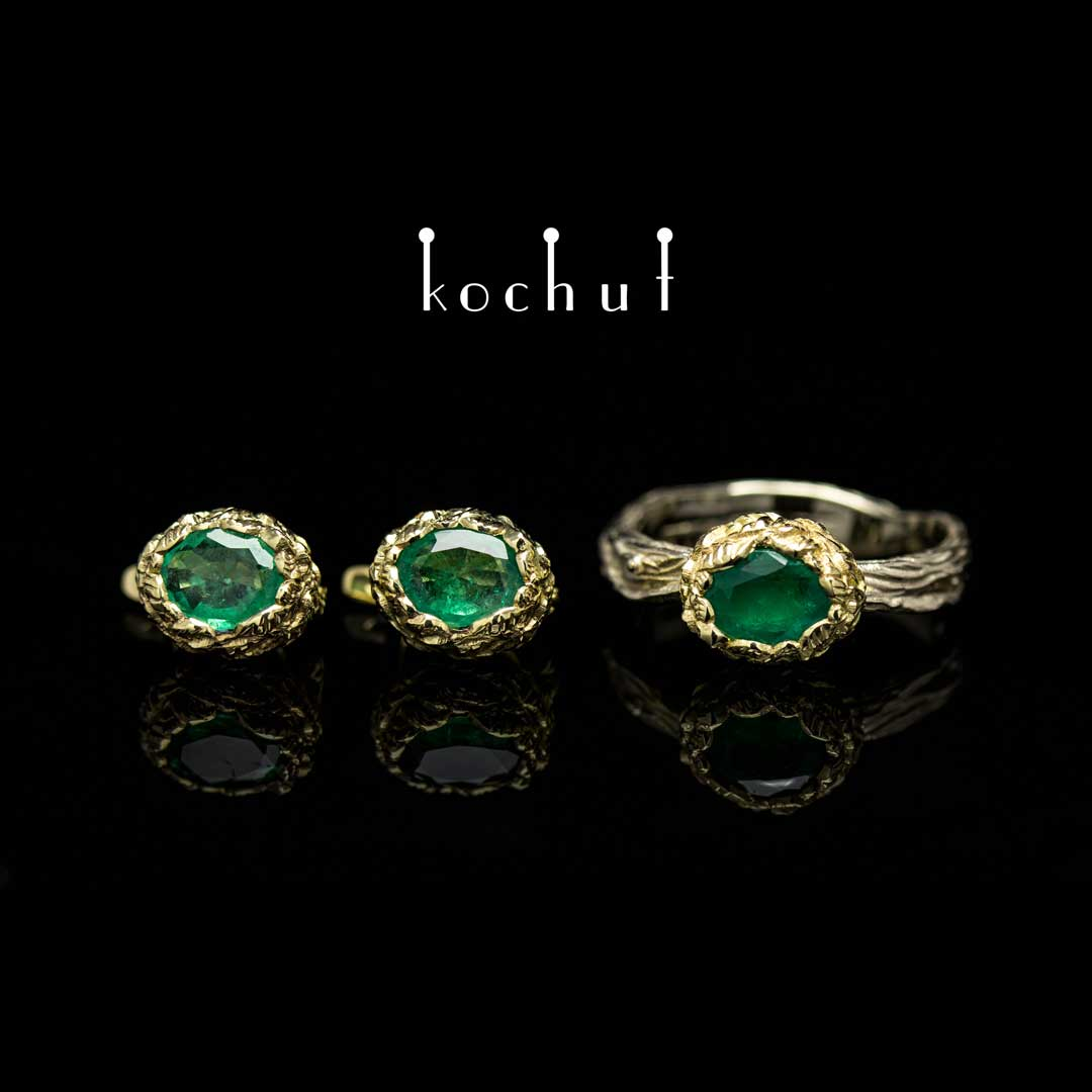 Set «The source of life.» White, yellow gold, emeralds