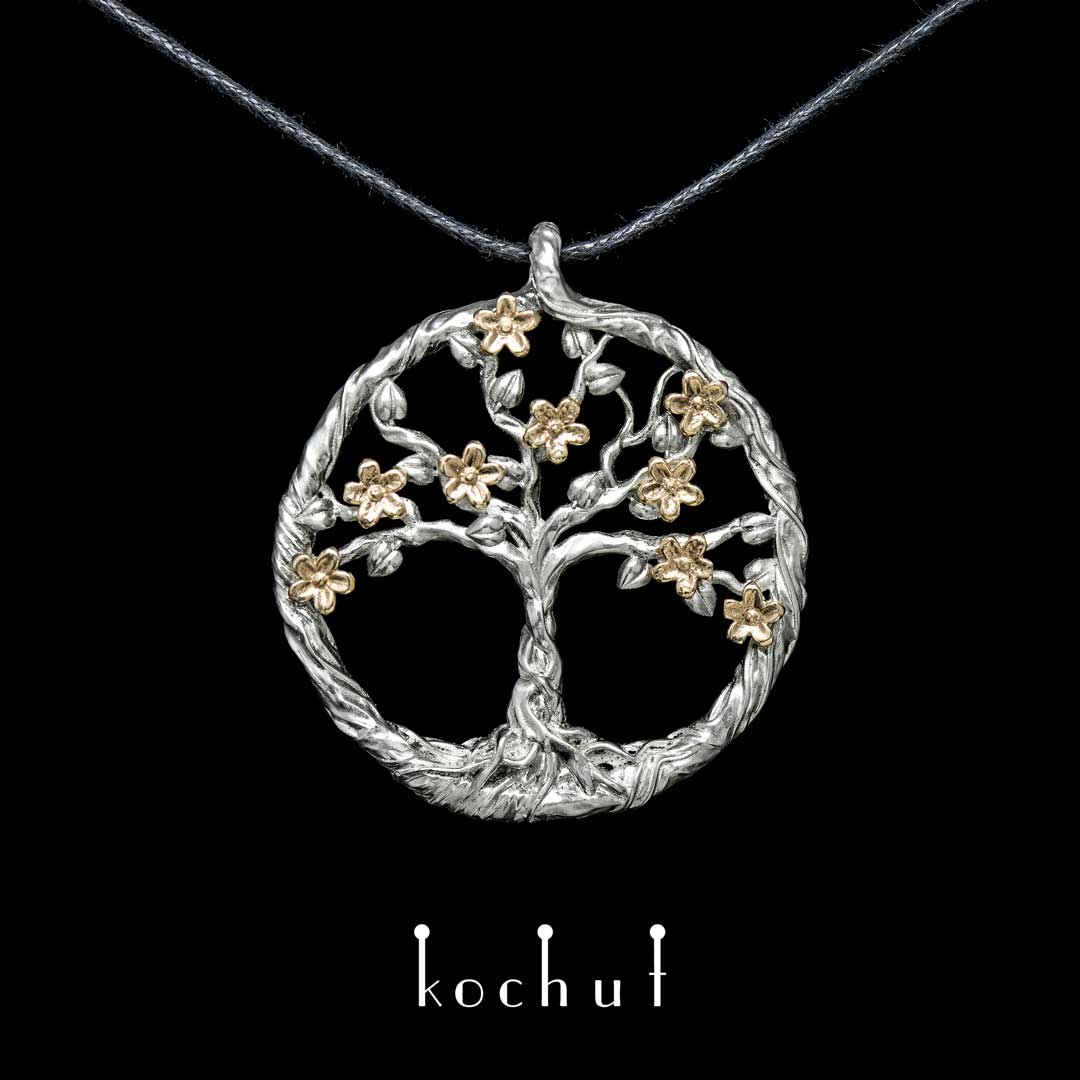 "The pendant ""Blooming tree"". Yellow gold, silver"