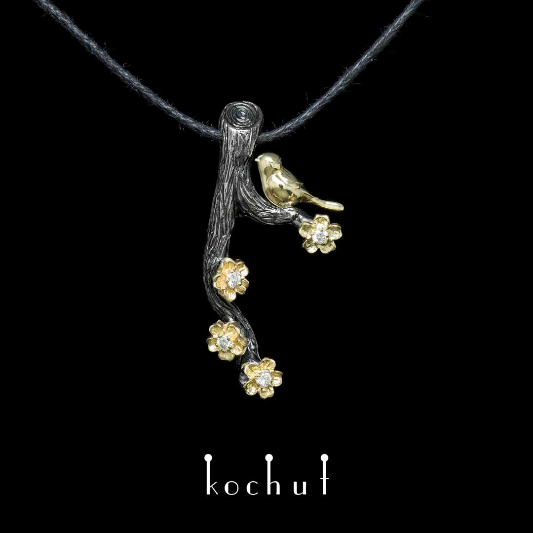 """Pendant """"Bird on a branch with flowers"""". Silver, gold, diamonds"""