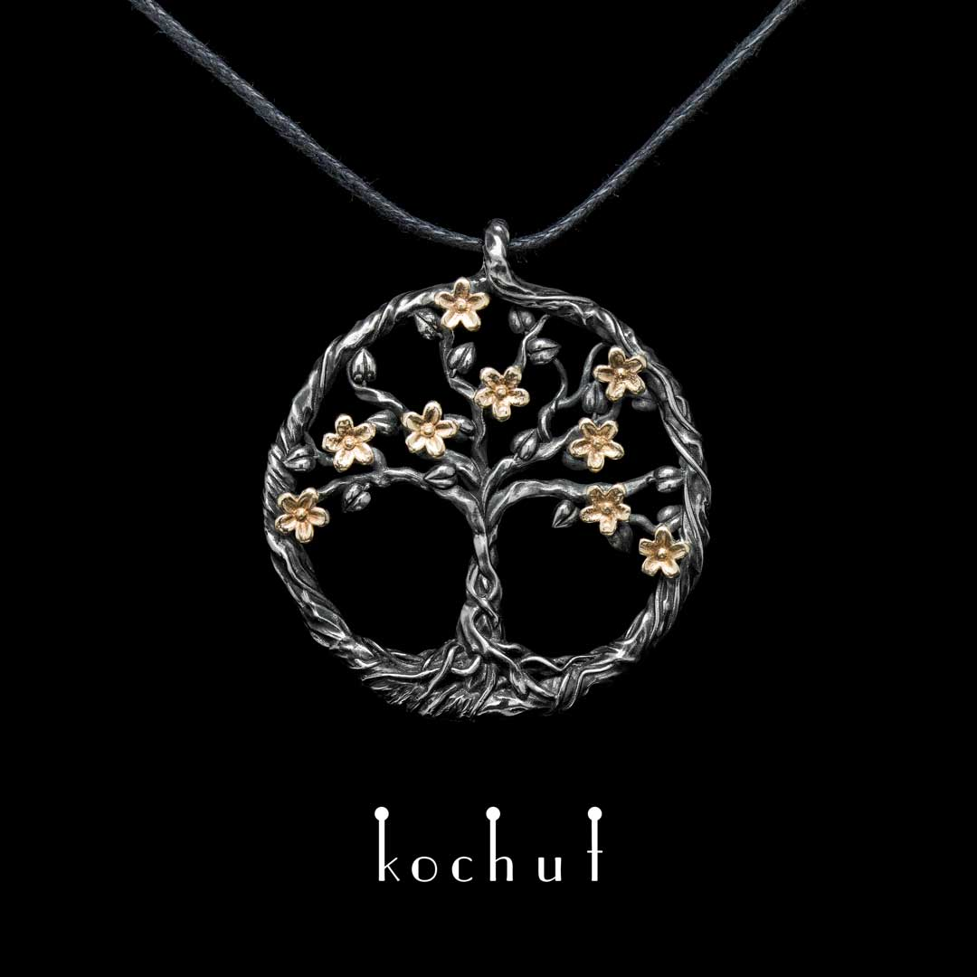 """The pendant """"Blooming tree"""". Yellow gold, sterling silver, oxidation"""