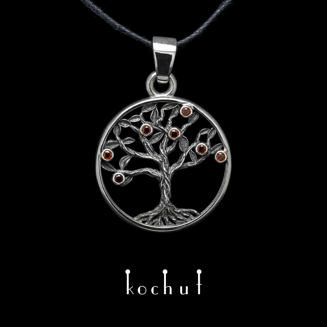 "Pendant ""Pomegranate tree"". Silver, oxidation, grenades"