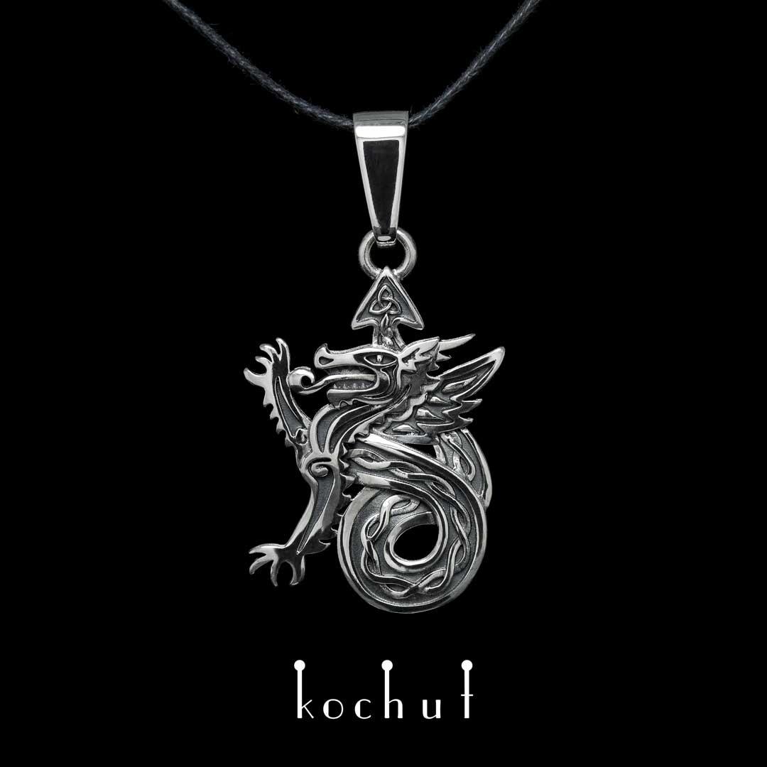 "Pendant ""Celtic dragon"". Silver, oxidation"