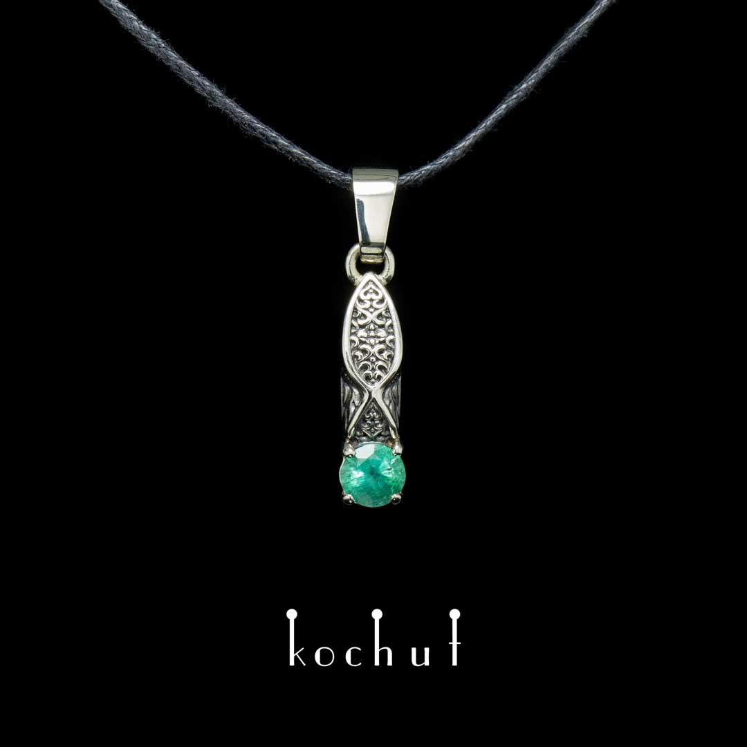 The pendant «Versailles». White gold, emerland, black rhodium