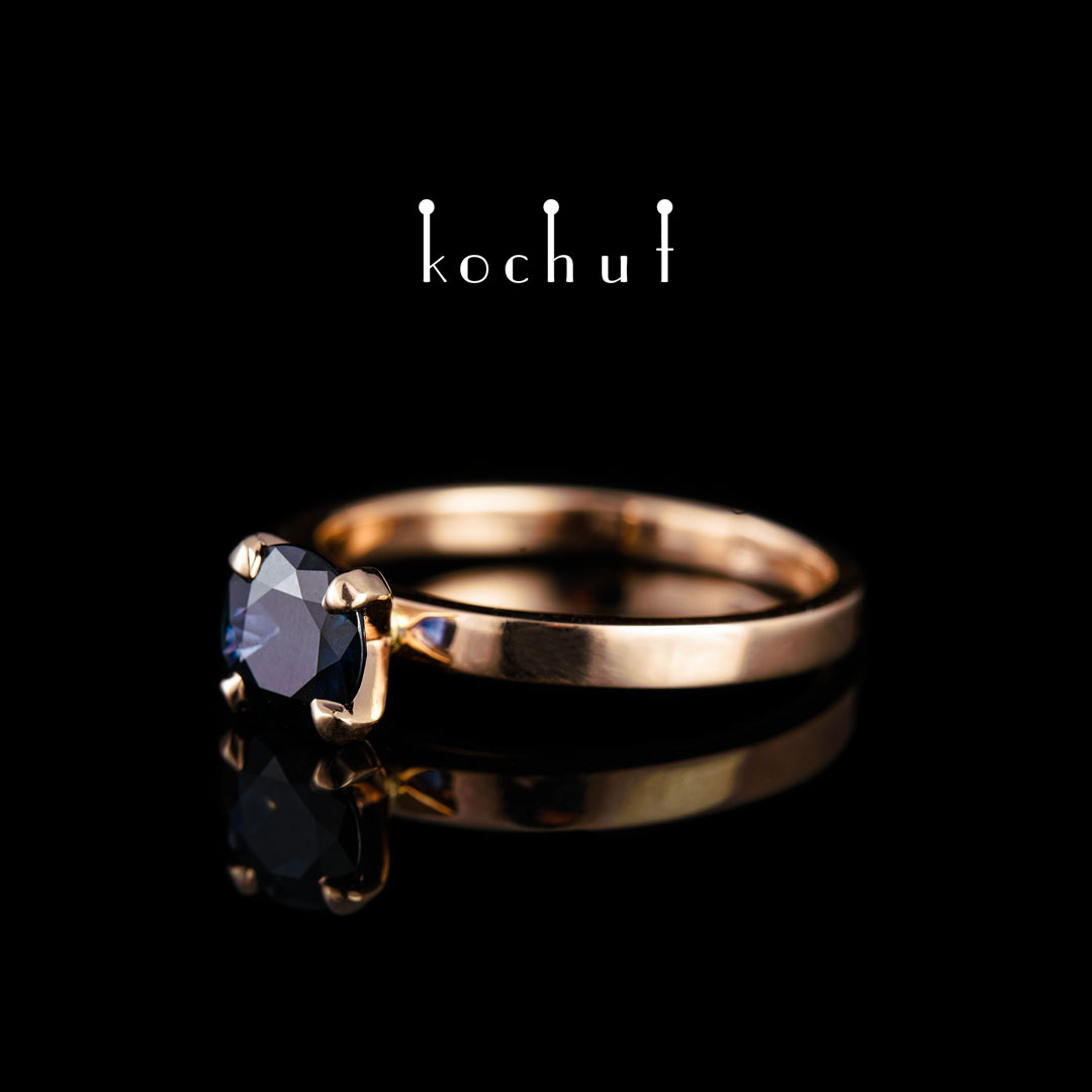 """Engagement ring """"Tenderness of feelings"""". Red gold, sapphire"""