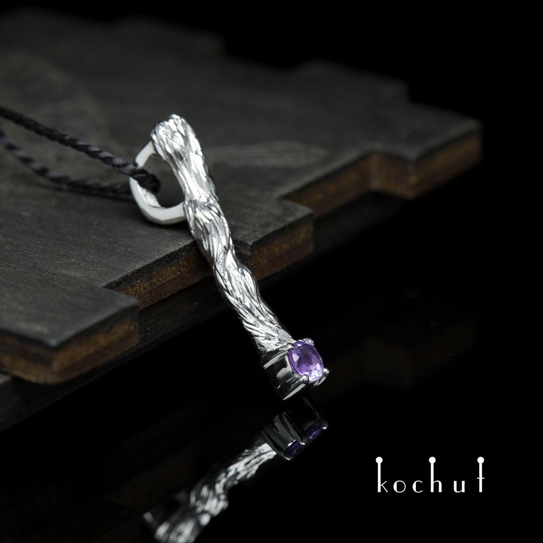 "The pendant ""Little twig"". Silver, white rhodium, amethyst"