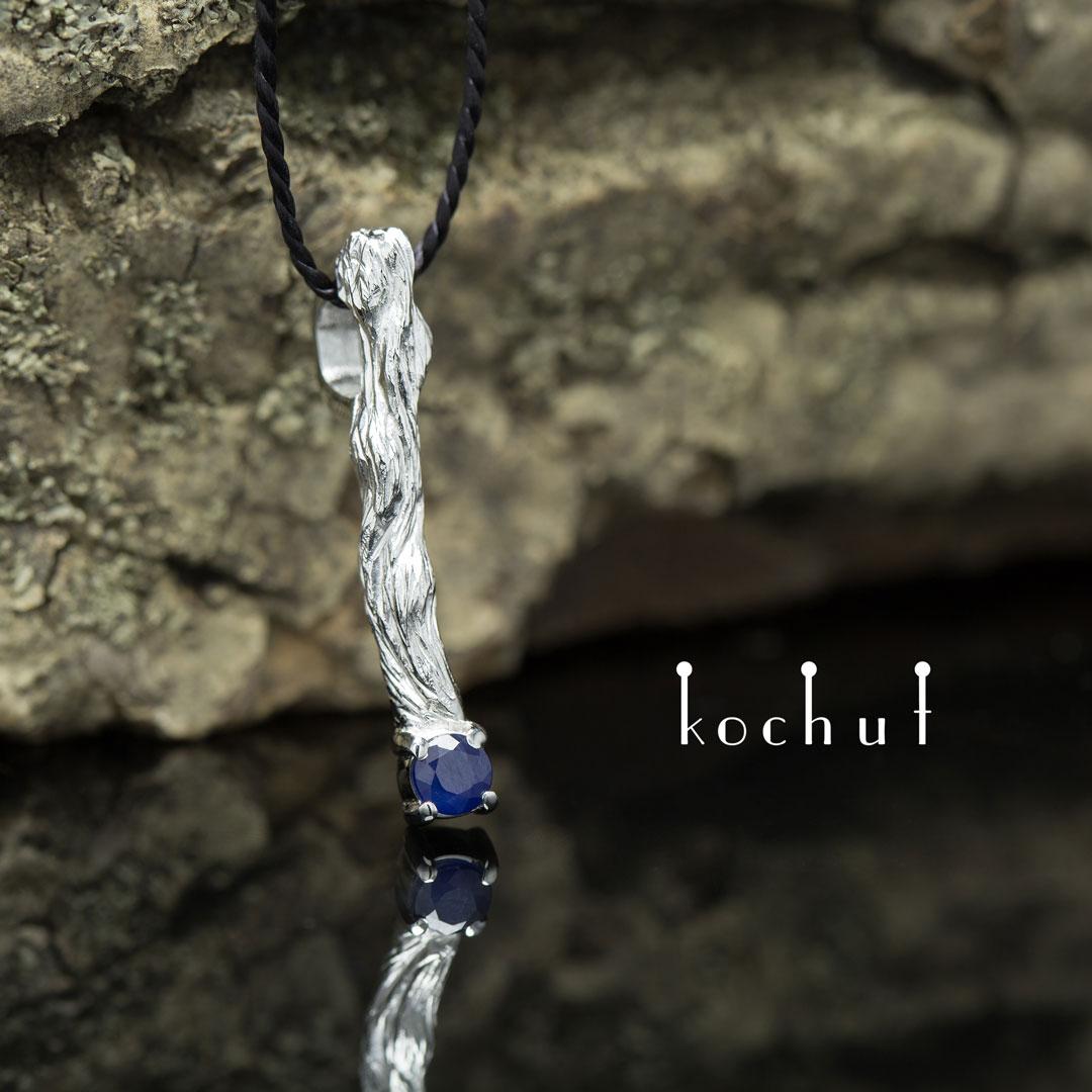 "The pendant ""Little twig"". Silver, white rhodium, sapphire"