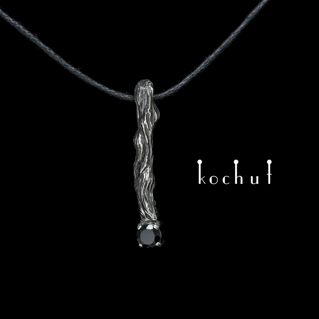 """The pendant """"Little twig"""". Silver, oxidation, black spinel"""