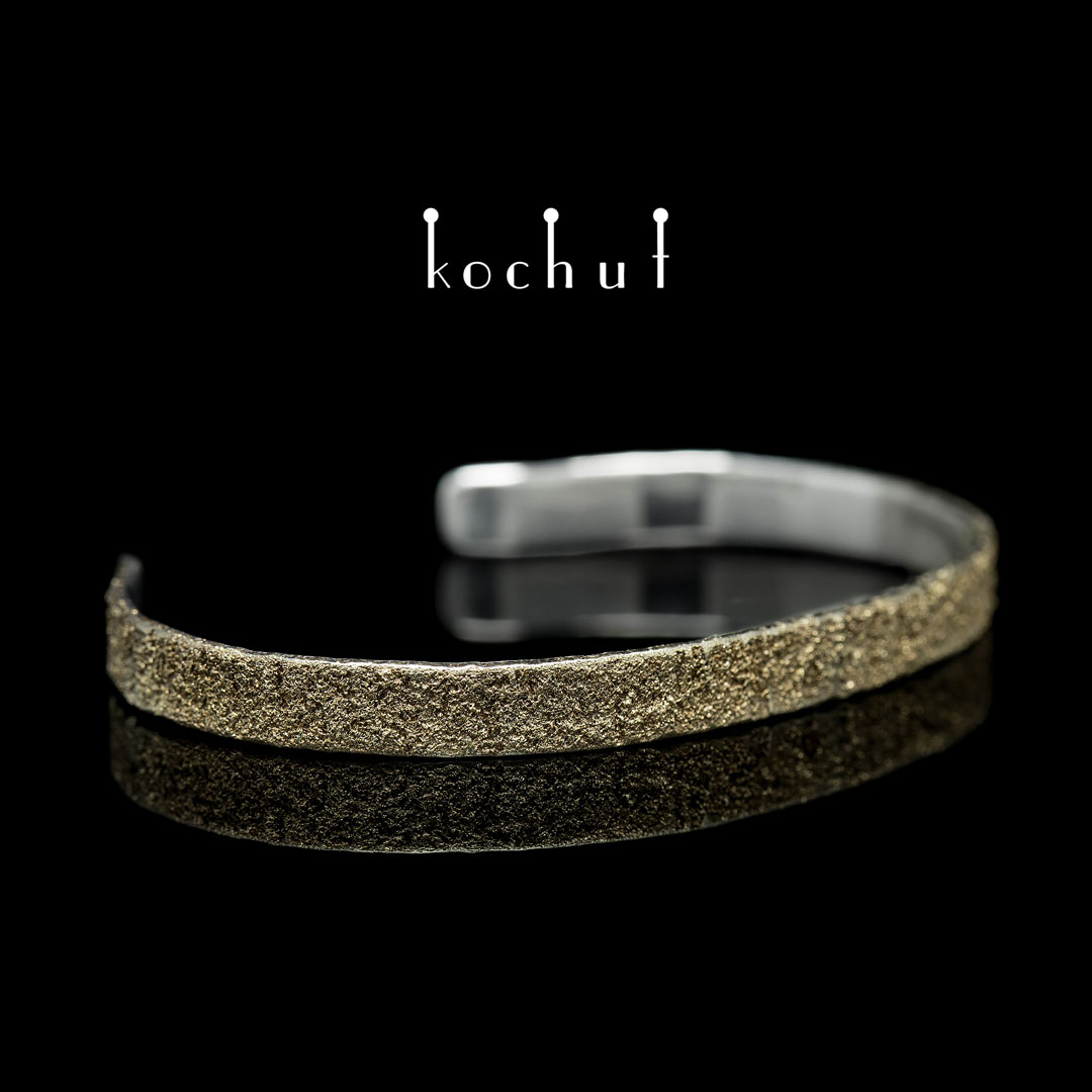 """Bracelet """"Soul and body"""" (one-piece). Silver, fusing of yellow gold"""