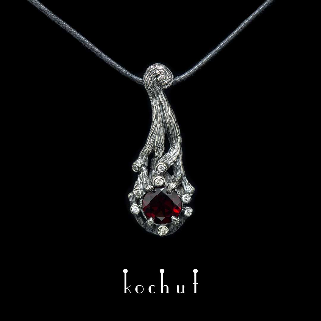 """Pendant """"The bewitched forest"""". White gold, black rhodium, red garnet, diamonds"""
