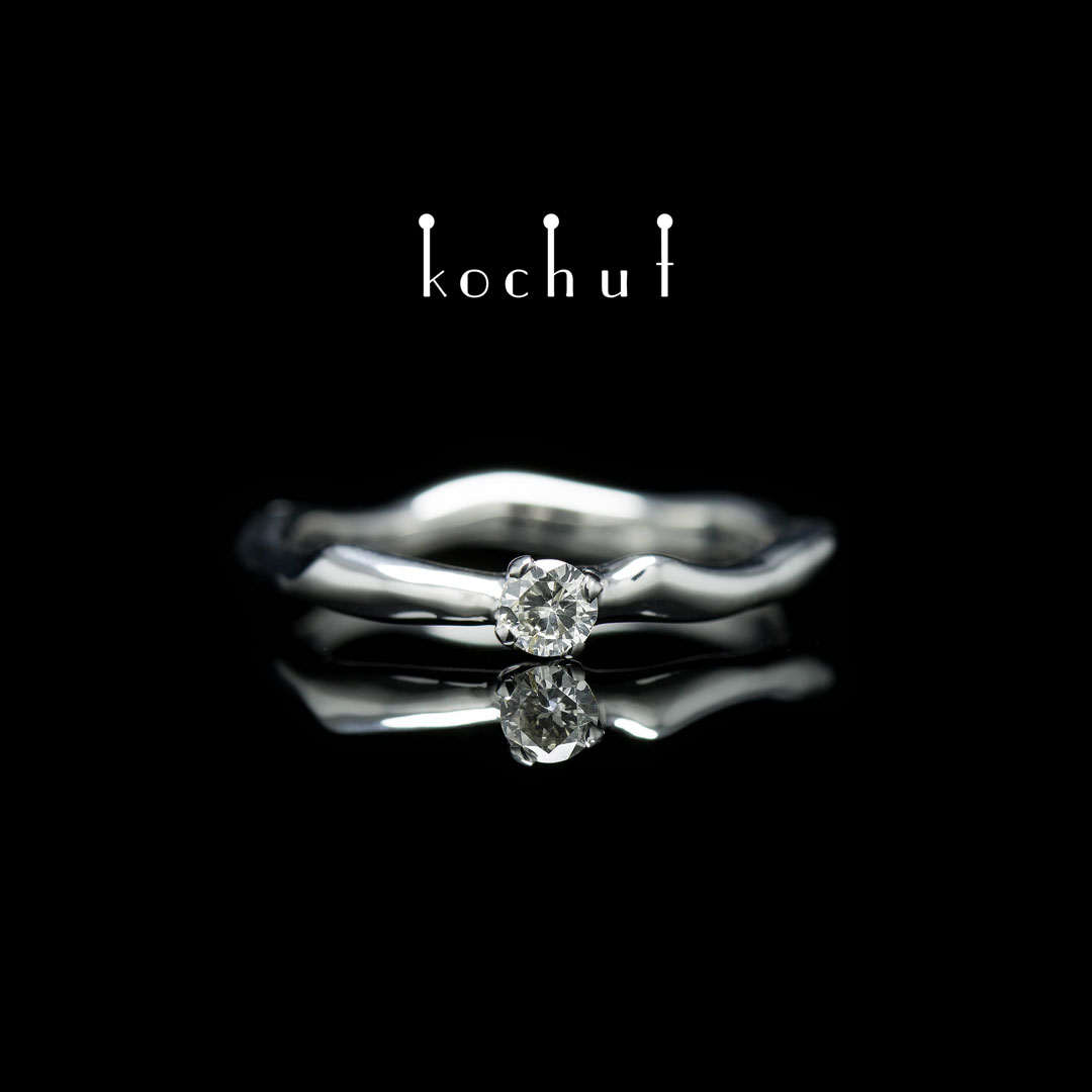 "Ring ""Gentle embrace"". White gold, diamond"