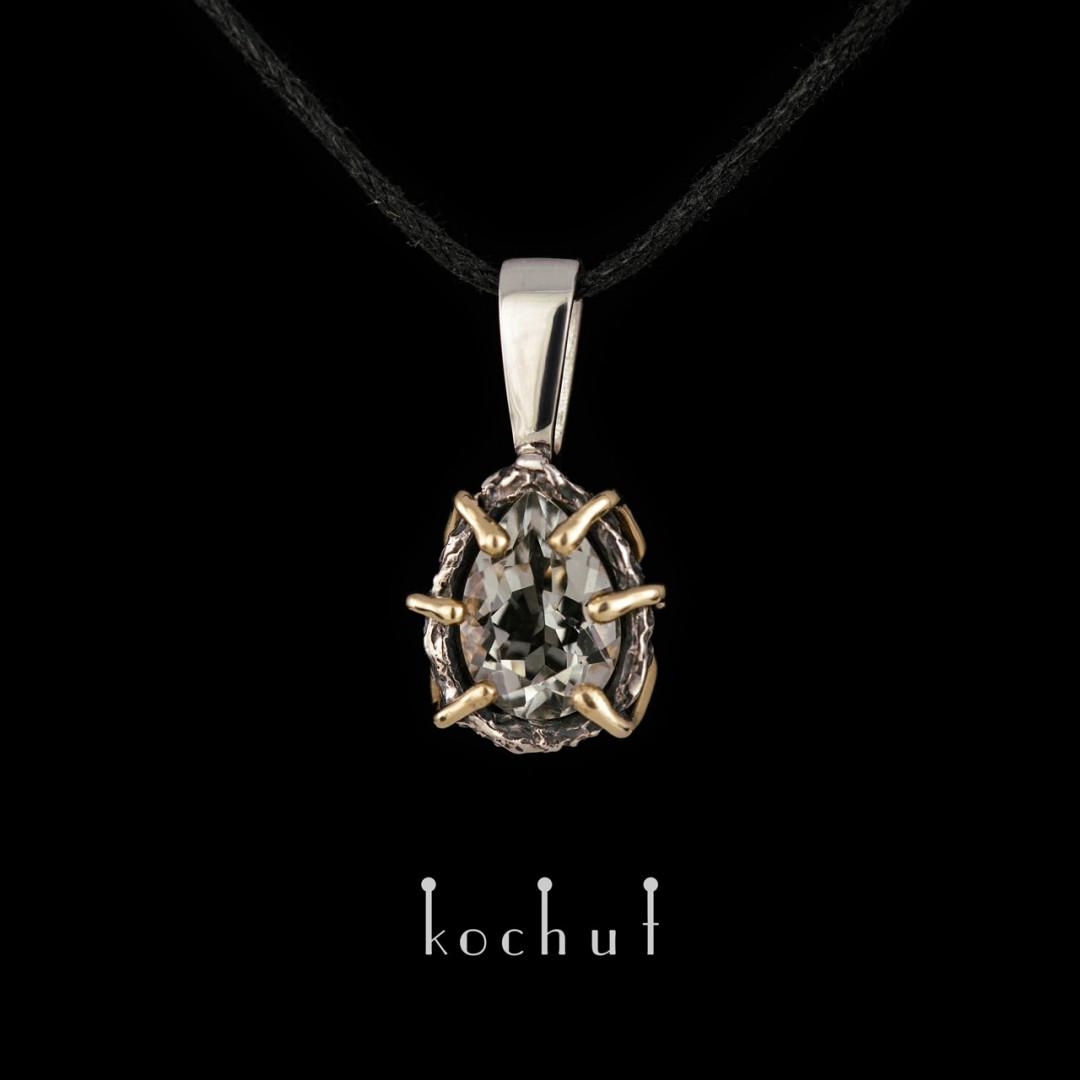 "The pendant ""Aurora"". Silver, gold, green amethyst"