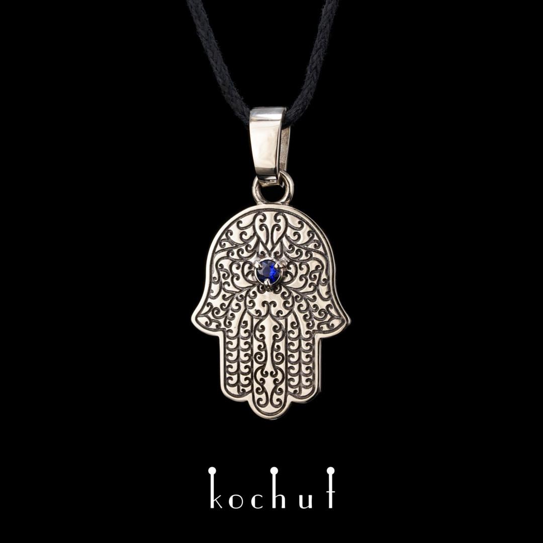"The pendant ""Hamsa"". White gold, sapphire, black rhodium"